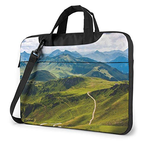 Mountains Green Laptop Bag Messenger Bag Briefcase Satchel Shoulder Crossbody Sling Working Bag 14 Inch