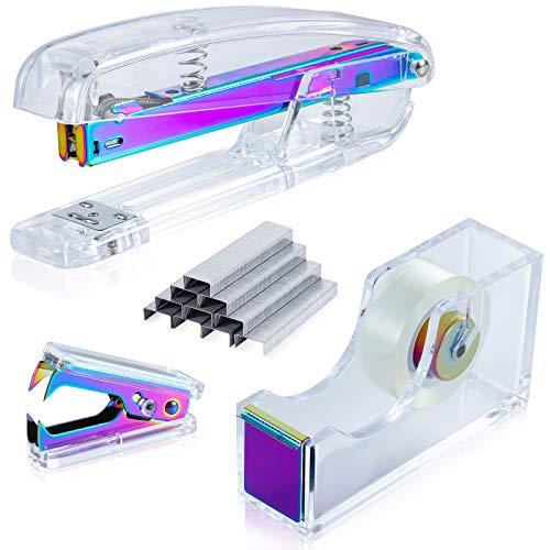SEAKOS Dream Color Acrylic Stapler Set,Desk Stapler,Office and Home Stapler,Students Stapler,Tape Dispenser,Stapler Remover,Free 1000pcs 26/6 Staples——Multicolor