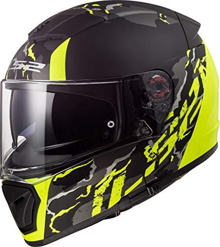 LS2 NC Casco per Moto, Hombre, Negro/Amarillo, S