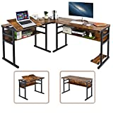 """L-Shaped Computer Desk Corner Desk with Storage Shelves, 67"""" Industrial Office Desk Study Writing Table ModernWorkstation Drafting Drawing Table with Tiltable Tabletop for Home Office, Rustic Brown"""