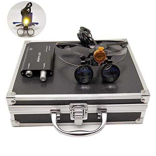 Zgood - Lupas binoculares quirúrgicas de distancia de trabajo (3,5 x 420 mm, con luz LED de 3 W, caja de aluminio), color negro