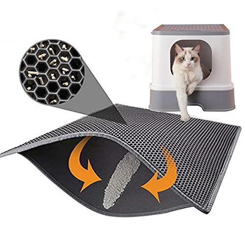 Louis Donné Cat Litter Mat, Litter Tray Mat of Large Size Double Layer Honeycomb Large Holes Design, Cat Litter Box Mat Scatter Control, Waterproof EVA Material, Washable(66X45cm, Grey)