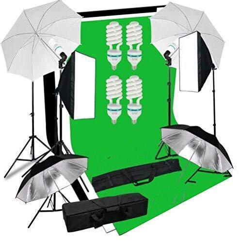 MVPower Kit d'éclairage LED 50x70cm, Softbox Studio Photo Bi-Couleur Réglable (4XParapluie+2XSoftbox+3XToiles de Fond)