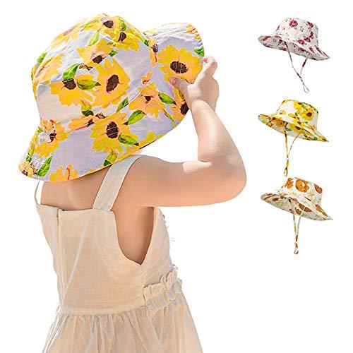 Lanly Fischerhut Sommerhut Blumen Druck Kinder Mädchen Einstellbar UV Schutz Sonnenhut Baby Comhats (Gelb)