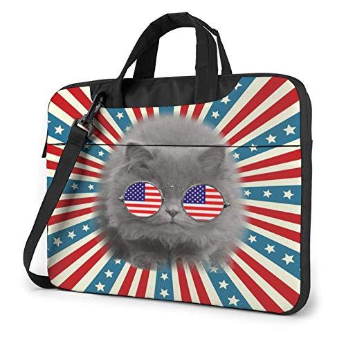 Laptop Messenger Laptop Bag Cause I 'm American Flag Cat Bandolera Maletín Maletín de Oficina Funda para computadora portátil Satchel Tablet para Hombres Mujeres
