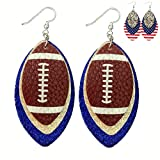 Royal Blue Leather Earrings for Women - Faux Leather Earrings for Women - Silver Blue Football Sports Fans Accessory - 3-Layered Faux Leather Earrings - USA Flag - Glitter & PU Leather - SET OF TWO - Mall of Style (Silver & Royal Blue)