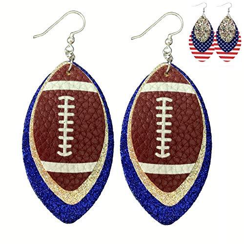 Royal Blue Leather Earrings for Women - Faux Leather Earrings for Women - Silver Blue Football Sports Fans Accessory - Faux Leather Earrings - USA Flag - Glitter & PU Leather - (Silver & Royal Blue)