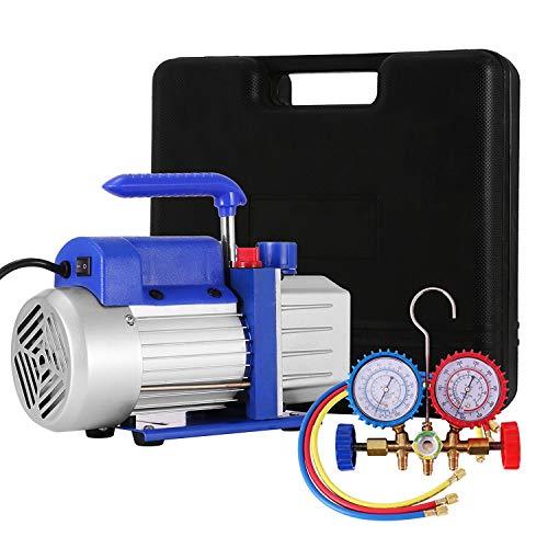 4CFM 1/4HP Vakuumpumpen-Kit HVAC Vacuum Pump Einstufige Klimaanlage Kältemittel-Drehschieber-Vakuumpumpe mit 1 Ventil R134a A/C Verteiler-Manometer-Set