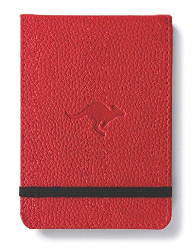 Dingbats D5512R Wildlife A6+ Reporter Hardcover Notizbuch - PU-Leder, Mikroperforiert 100gsm Creme Seiten, Innentasche, Gummiband (Gepunktet, rotes Känguru)