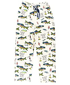 Lazy One Animal Pajama Pants for Men, Men's Separate Bottoms, Lounge Pants, Fishing, Outdoors (Asleep at The Reel, X-Small)