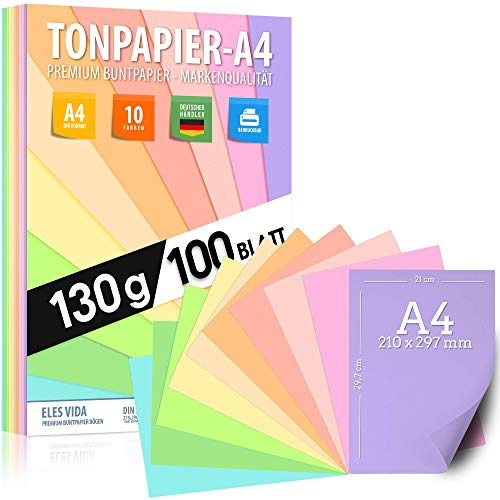Pastell Tonzeichenpapier DIN A4 - 100 Blatt– 130 g - 10 Farben – Festes Papier - Farbige Pastel Blätter für Schule, Hobby - Kinder & DIY Bögen, Bastel Zubehör - Geschenke, Buntpapier Pastellfarben