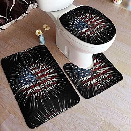 American Flag Firework Print Bathroom Pad Non-Slip Bat NEW before free shipping selling ☆ Antiskid