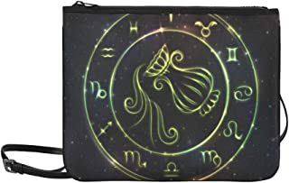 Zodiac Sign Aquarius In Bright Circle Or Ring Pattern Custom High-grade Nylon Slim Clutch Bag Cross-body Bag Shoulder Bag