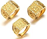 Halukakah ● Gold Bless All ● Men's 18K Gold Plated Kanji Ring Rich+Luck+Wealth Set Size Adjustable with Free GIftbox