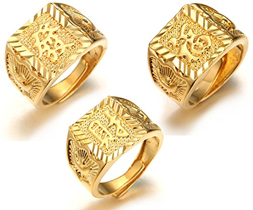 Halukakah  Gold Bless All  Men's 18K Gold Plated Kanji Ring Rich+Luck+Wealth Set Size Adjustable with Free GIftbox