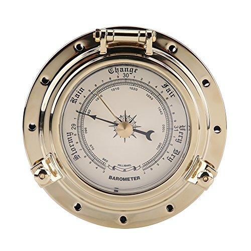 Qiilu Rome Retro Barómetro Reloj Medidor de humedad y temperatura para navegación Marina RV Yate Barco SUV(Barómetro de oro)