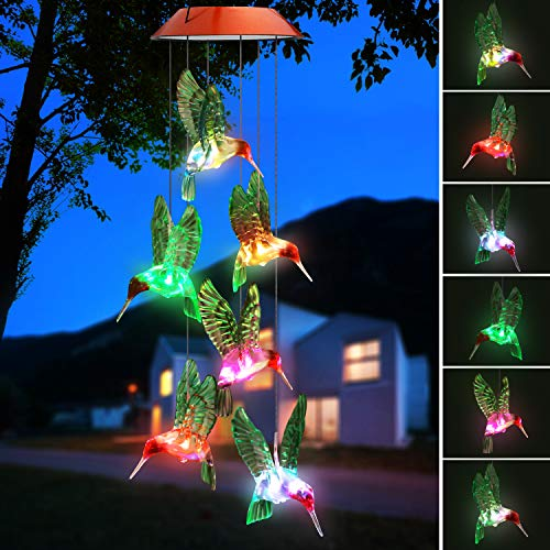 Topspeeder Color-Changing LED Solar Mobile Wind Chime LED Changing Light Color Waterproof Six Hummingbird Wind Chimes for Home Party Night Garden Decoration(Copper Board Hummingbird)
