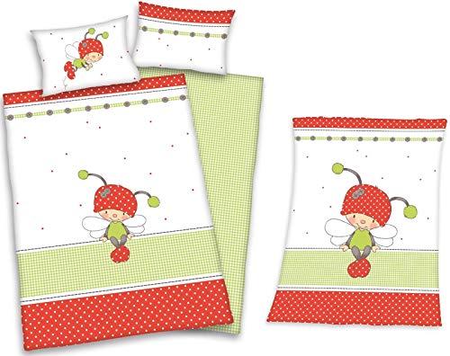 Baby Best - Coccinelles - Linge de Lit Bébé et Couverture Laineux de Herding, Blanc/Rouge/Vert , 100x135