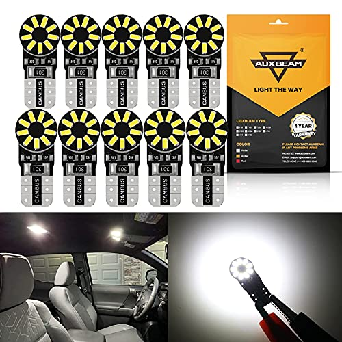 Auxbeam 194 LED Bulbs White, Canbus Error Free 168 2825 T10 W5W LED Light Bulbs 6000K 3014 Chipsets Replacement for License Plate Lights Intrior Lights Dome Map Door Dashboard Reading Lights 10 PCS