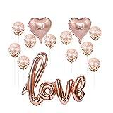 Ponmoo Ballon Confettis Or Rose Love Decoration Anniversaire Latex...