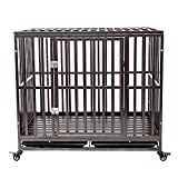 Haige Pet Your Pet Nanny 42' Heavy Duty Dog Crate Cage Strong Metal Kennel for Large Dogs Easy to Assemble with Two Prevent Escape Lock and Four Lockable Wheels