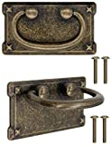 FUXXER - 2 tiradores de cajón antiguos plegables, diseño de hierro bronce, para puertas de armarios, cómodas, cajoneras, etc. Vintage rústico, retro, juego de 2 unidades.