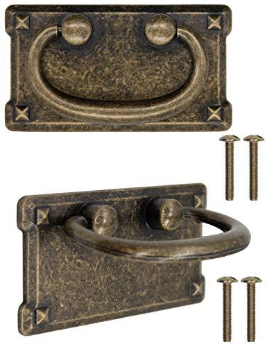 FUXXER® - 2 Antik Schubladen Griffe klappbar, Bronze Eisen Design, Für Schieber Schrank-Türen Kommoden Küchen Buffets Truhen usw. Vintage Landhaus Retro, 2er Set
