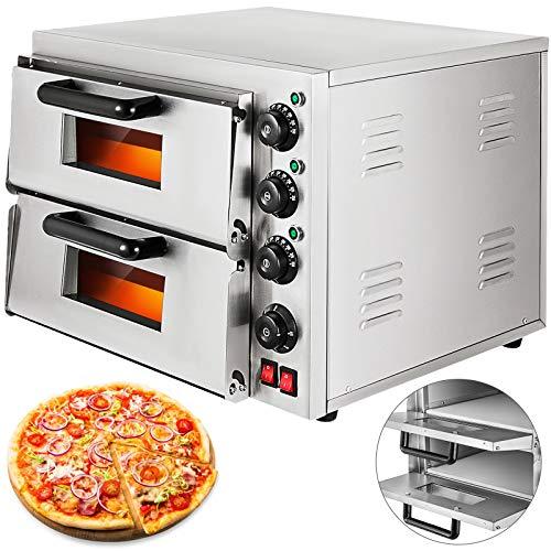 VEVOR Macchina da Forno Elettrica 3000W, Forno per Pizza di Doppi Strati in Acciaio Inossidabile da Temperatura 50-350℃, Forno per Pizza Commerciale con Cassetto per Pizza Dedicato Fornello
