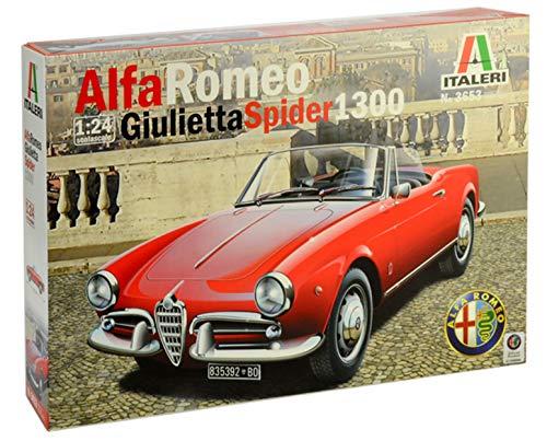 ITALERI 3653S - 1:24 Alfa Romeo Giulietta Spider 1300 , Modellbau, Bausatz, Standmodellbau, Basteln, Hobby, Kleben, Plastikbausatz, detailgetreu