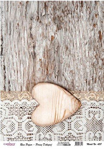 Papel de Arroz Cadence Corazón de Madera 30x41 cm Ref. 438