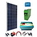 Kit Solar 12v 300W/1500W día Regulador de carga PWM 20A Inversor 2000w onda pura cargador 35Ah Batería AGM TFS-250AH