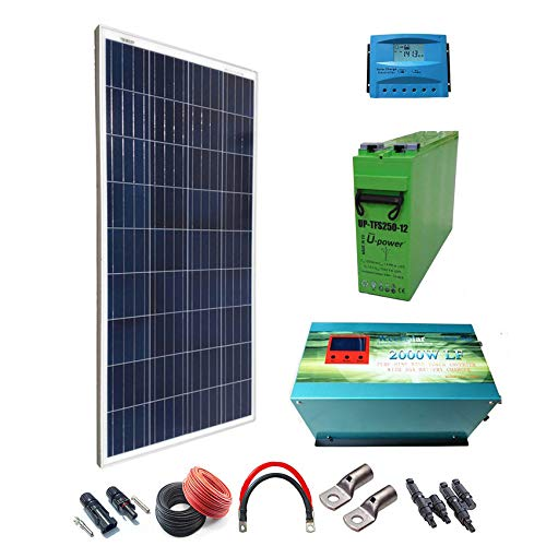 Kit Solar 12v 300W/1500W día Regulador de carga PWM 20A Batería AGM TFS-250AH Inversor 2000w onda pura cargador 35Ah