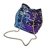 Bolsos Mujer Bolso De Lentejuelas para Mujer Bolso De Moda Bolso De Hombro con Purpurina Embrague De Fiesta De Noche para Niña Azul