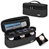 Teamoy Double-Layer Watch Box Organizer with Soft Padded Inner Liner, Travel Storage Case for Man Watches, Wristwatch and Accessories, Black