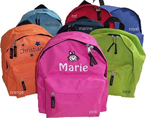 Kinder-Kindergarten Rucksack mit Namen & Motiv Bestickt (7 Farben zur Auswahl)