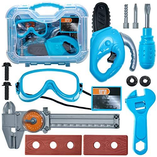 Buyger Kinder Werkzeug Werkzeugkoffer Spielwerkzeug Werkbank Werkzeugkasten Rollenspiel Spielzeug Geschenk für Kinder ab 3 Jahre