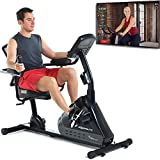 Exerpeutic 5000 Magnetic Recumbent with Airsoft seat and Bluetooth MyCloudFitness App, Black and Grey