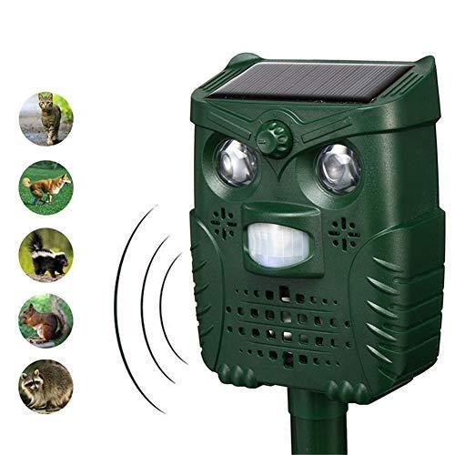 WUBAILI Ultraschall-Schädlingsbekämpfer Katzenschrecker, Solar USB-betrieben Ultraschall- / Ton- / Blinklicht Four Mode Outdoor Waterproof Fox Deterrent,Grün