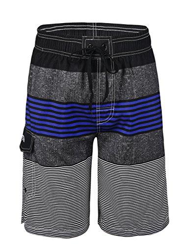 Nonwe Men's Swimwear Quick Dry Striped Swim Trunks Striped Blue 36