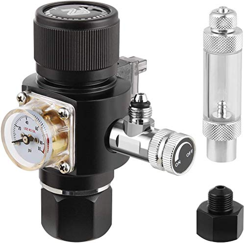 FZONE Aquarium CO2 Regulator Mini Series V3.0 Dual Stage with DC Solenoid and Bubble Counter Check Valve Compatible Paintball Tank CGA320 CO2 Cylinder