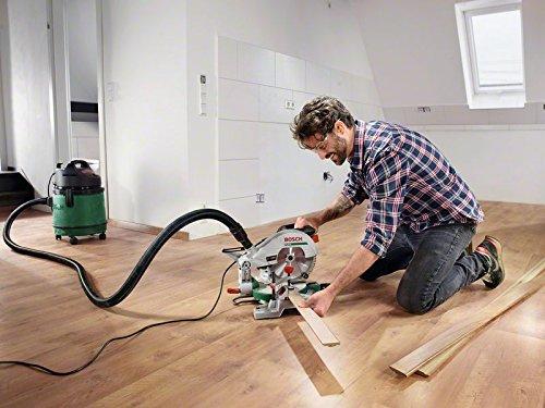 Bosch DIY Kapp- und Gehrungssäge PCM 8, Arbeitsklemme, Kreissägeblatt Optiline Wood, Staubbeutel, Karton (1200 W, Kreissägeblatt Nenn-Ø  216 mm) - 4