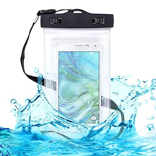kwmobile Custodia Impermeabile Borsa da Spiaggia per Smartphone - Beach Bag per Cellulare - Protezione Acqua Sabbia - Astuccio 16,5 x 9,5 cm - Nero Trasparente