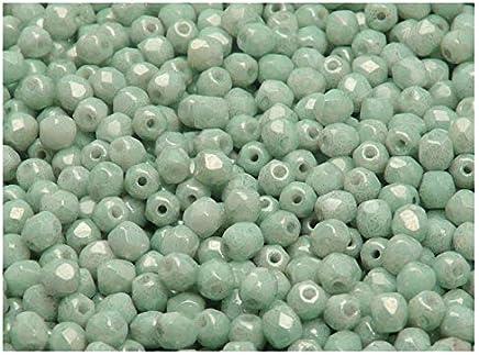 100 St/ück Tschechische Facettierten Glasperlen Fire-Polished Rund 4 mm Opaque Turquoise Green