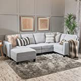 Christopher Knight Home Zahra Fabric Sectional Couch with Ottoman, 6-Pcs Set, Light Grey