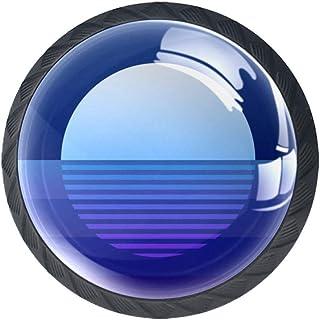 Blue Moon Rays Moonlight - Juego de 4 pomos planos para muebles de cocina dormitorio armario de cocina cajón con mango ...