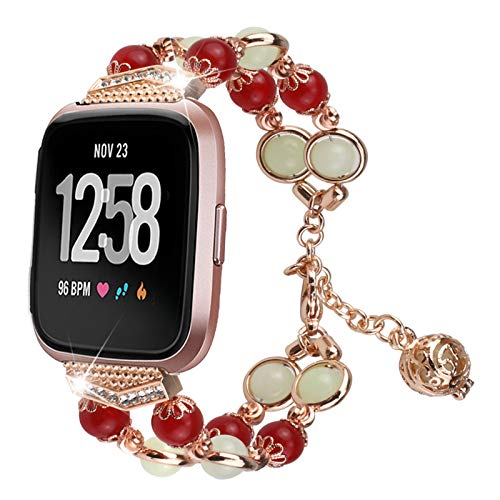 XIALEY Correas De Reloj para Mujer Compatible con Fitbit Versa 3 / Sense, Pulsera Luminosa De Noche Hecha A Mano Reemplaza La Pulsera con Correa Compatible con Versa 3 / Sense,Rose Gold 1