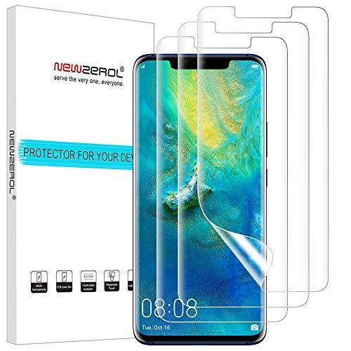 NEWZEROL 3 stück Ersatz für Huawei Mate 20 Pro/Mate 20 RS Schutzfolie (Premium-Qualität)[ Support Fingerprint ID] Bildschirmschutzfolie Anti-Bubble TPU[volle Abdeckung]-CLAR