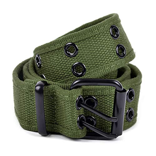 boxed-gifts Solid Color Military and Casual Canvas Belt, Double Grommet Unisex Belt for Men and Women - Olive