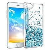 KOUYI Cover iPhone 8/7, 3D Glitter Chiaro Liquido Silicone TPU Bumper Telefoni Telefono Cellulari Protezione Cover,3D Bling Protettiva Case Custodia per Apple iPhone 8 / iPhone 7 (Blu Argento)