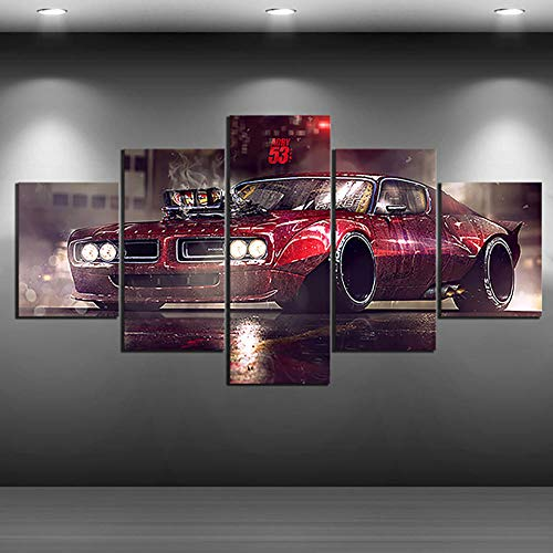 N / A HD Imprime Pintura 5 Paneles vehículo Retro Deporte Coche imágenes Arte de la Pared Modular Lienzo póster Moderno Fondo de cabecera decoración del hogar-30x40 30x60 30x80cm Sin Marco